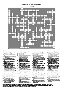 The Last of the Mohicans - Big Vocabulary Crossword Puzzle