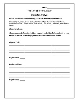 The Last of the Mohicans - Character Analysis Activity - James Fenimore Cooper
