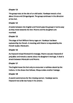 The Last of the Mohicans Summary Chapter Guide