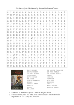 The Last of the Mohicans - Word Search Puzzle (Characters / Places)