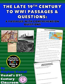 The Late 19th Century to WWI Close Reading Passages {Digital & PDF Included}