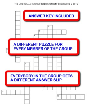 The Late Roman Republic:  Interdependent Crossword Puzzles Activity