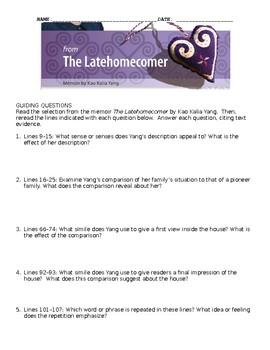 The Latehomecomer Study Guide Packet