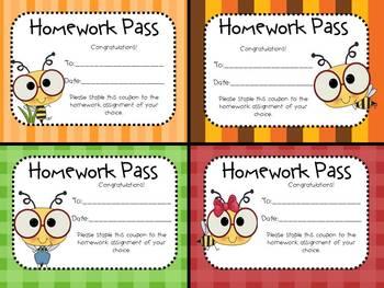 The Latest Buzz: No Homework! (Bee Theme Homework Passes)