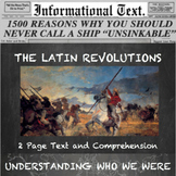 The Latin American Revolutions--Informational Text Worksheet