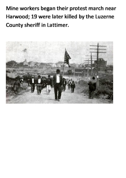 The Lattimer Massacre 1897 Word Search