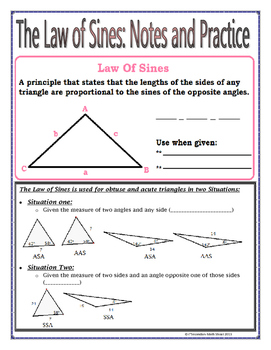 Right Triangles - The Law of Sines Notes and Practice