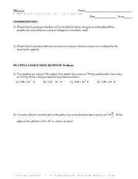 Law Of Universal Gravitation Worksheets & Teaching Resources | TpT