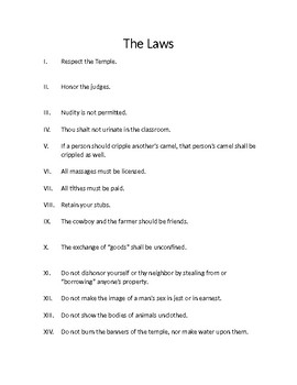 The Laws - 24 Classroom Rules - Alternative First Day Discussion Ice Breaker