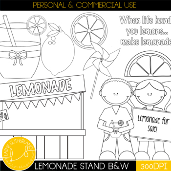 The Lazy Lemons Clip Art Collection Black & white & blacklines