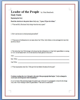"""The Leader of the People"" - Steinbeck - 19 study guide questions"
