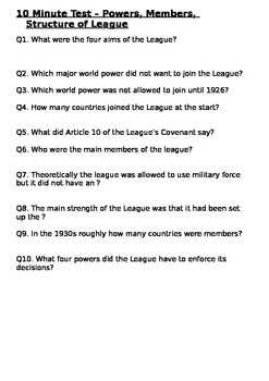 The League of Nations - 10 Minute Test