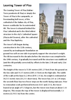 The Leaning Tower of Pisa Handout