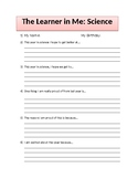 The Learner In Me: Student Inventory for Beginning of the Year
