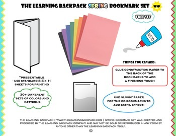 The Learning Backpack Printable Spring Bookmark Set
