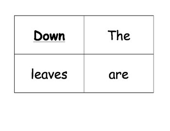 The Leaves Are Falling Down Poem For Pocket Chart