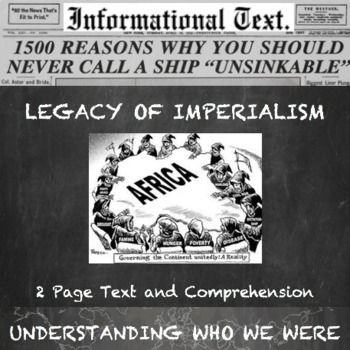 The Legacy of Imperialism--Informational Text Worksheet