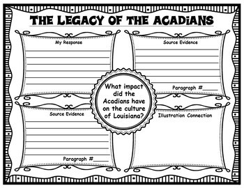 The Legacy of the Acadians Informational Text with Graphic Organizers