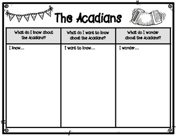 The Legacy of the Acadians KWW Graphic Organizer