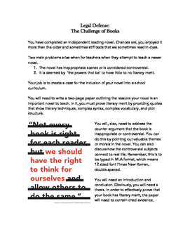 The Legal Defense: Independent Book Culminating Project