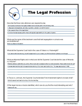 The Legal Profession: Student Activity Worksheet and Teacher Answer Key