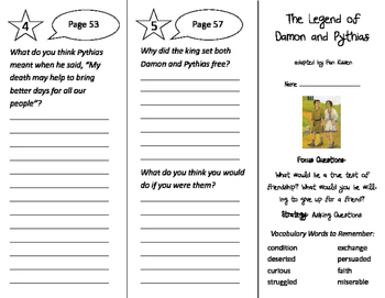 The Legend of Damon and Pythias Trifold - Imagine It 3rd Grade Unit 1 Week 2