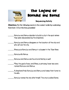 The Legend of Romulus and Remus Activity Pack