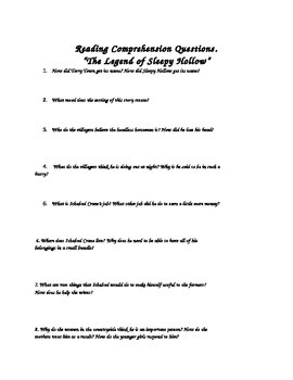 The Legend of Sleepy Hollow - Comprehension Questions