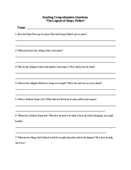 The Legend of Sleepy Hollow Comprehension Questions