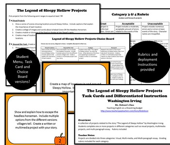 The Legend of Sleepy Hollow Projects [Task Cards] (Washington Irving)