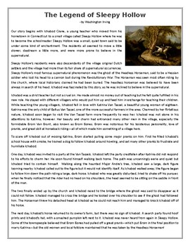 The Legend of Sleepy Hollow - Reading Comprehension Worksheet