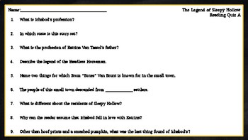 The Legend of Sleepy Hollow: Reading Quizzes/Comprehension Quizzes