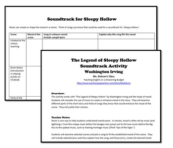 The Legend of Sleepy Hollow Soundtrack and Mood Activity (Washington Irving)