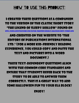 The Legend of Sleepy Hollow Text-Dependent Questions