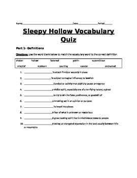 The Legend of Sleepy Hollow Vocabulary Quiz