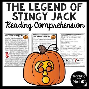 The Legend of Stingy Jack Reading Comprehension Worksheet- Halloween, pumpkin