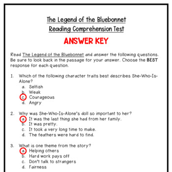 The Legend of the Bluebonnet Reading Comprehension Test (10 Questions)