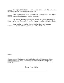 The Legend of the Bluebonnet by Tomie dePaola Comprehension Worksheet