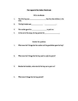 The Legend of the Indian Paintbrush Comprehension Questions
