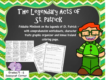 St. Patrick's Day - St. Patrick biography mini book and wo