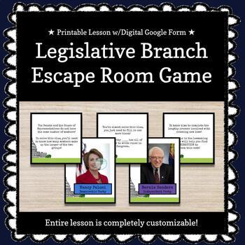 The Legislative Branch Customizable Escape Room / Breakout Game