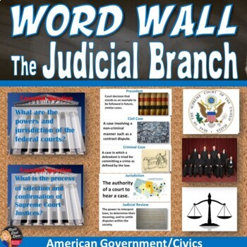 The Judicial  Branch Vocabulary Word Wall Posters (Civics)
