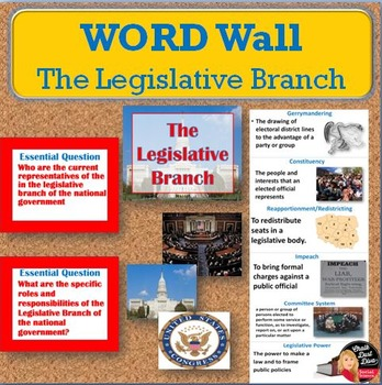 The Legislative Branch Vocabulary Word Wall Posters (Civics)
