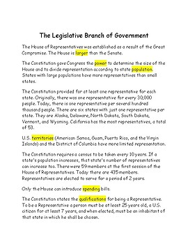 The Legislative Branch of Government -- CLOZE Reading