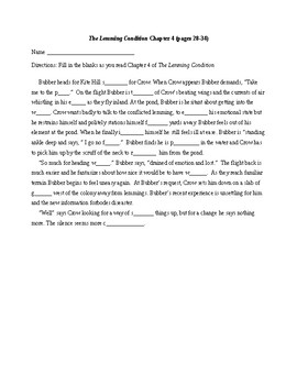 The Lemming Condition  Ch 4 Scavenger Hunt and Vocabulary with KEYS