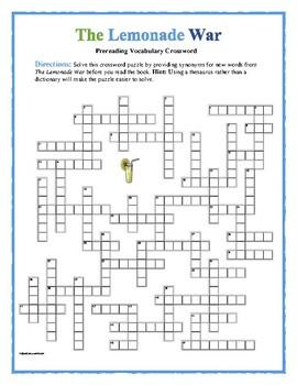 The Lemonade War: 50-word Prereading Crossword—Prepares students!