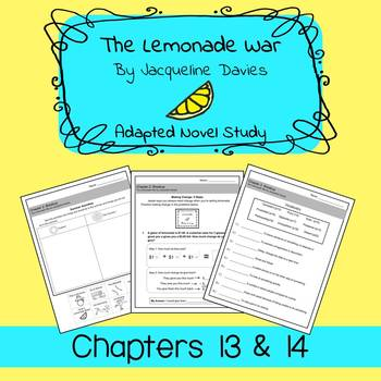 The Lemonade War Adapted Novel Study Chapters 13 & 14