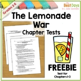 The Lemonade War Chapter 1-3 Test  Freebie!