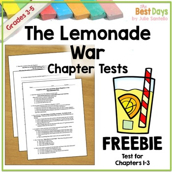 The Lemonade War Chapter 1-3 Test  Freebie!