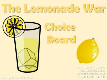 The Lemonade War Choice Board Novel Study Activities Menu Book Project